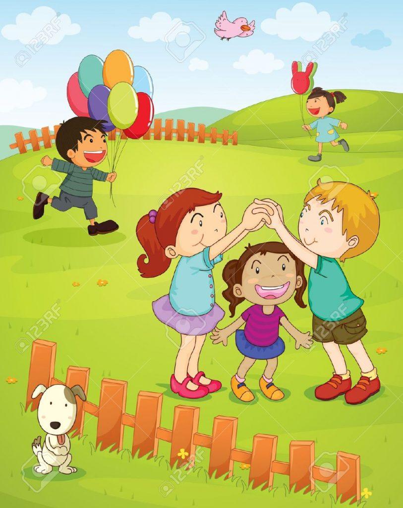 13593845-Illustration-d-enfants-jouant-dans-le-parc-Banque-d'images